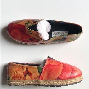 Handmade unique leather espadrilles